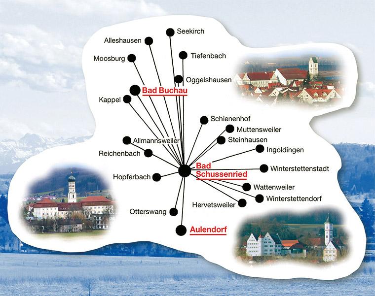 Verbreitungsgebiet der Guckloch Zeitung